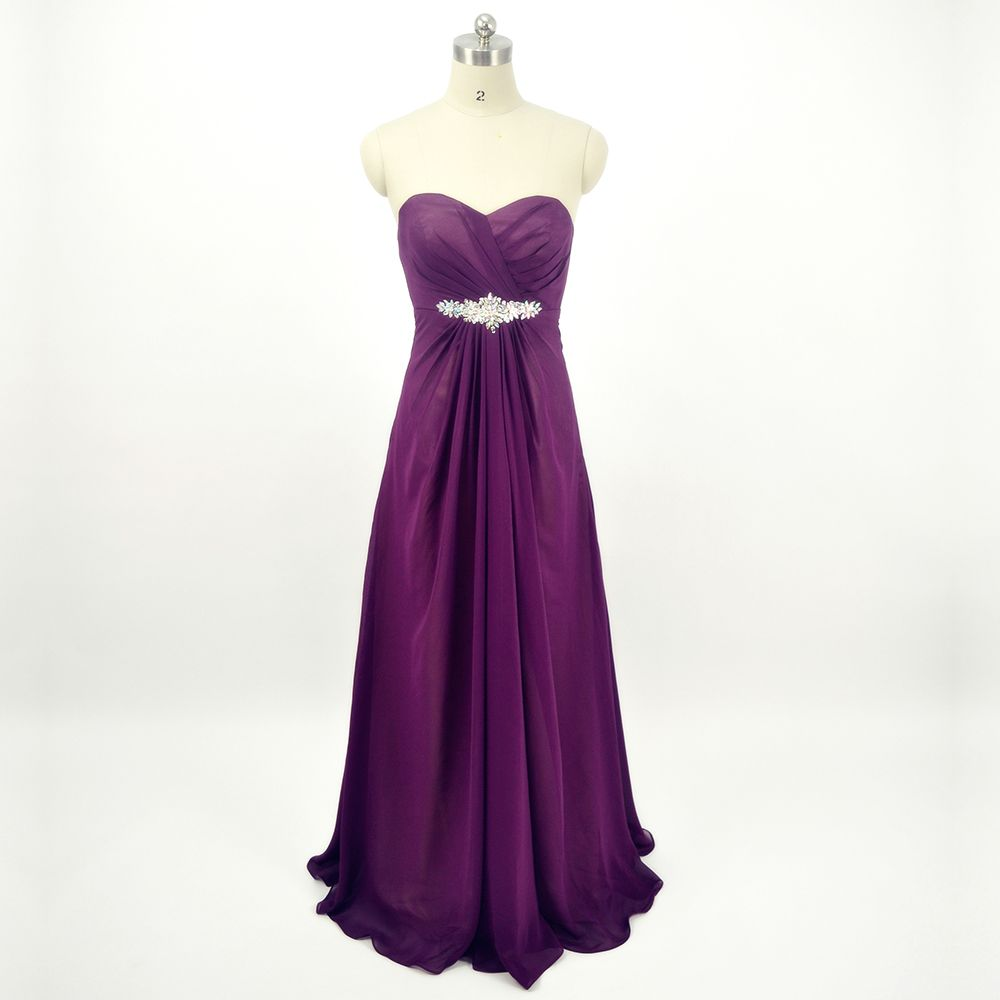 Wholesale Purple Long Bridesmaid Dresses for Wedding Cheap Strapless ...