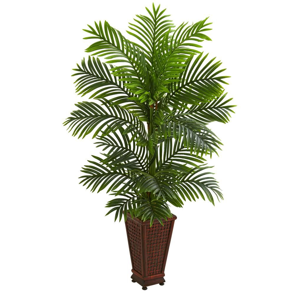 Indoor ft kentia palm artificial tree in decorative planter