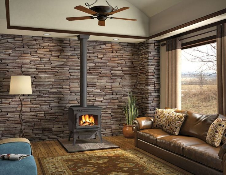 Wall Behind Wood Stove Love The Complete Rock Wall Behind The