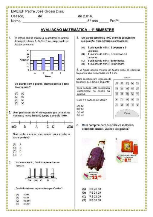 Pin Em Avaliacao Matematica