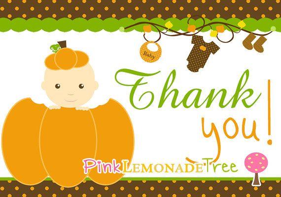 Pumpkin Thank You Card Baby Shower Instant Download Pumpkin Baby