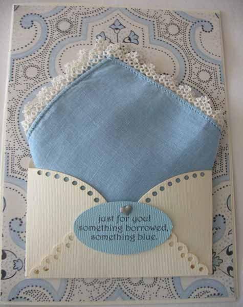Vintage Blue Wedding Handkerchief Bride Gift Tatted Edge Something Borrowed Hanky Greeting Card 7 95 Via Etsy