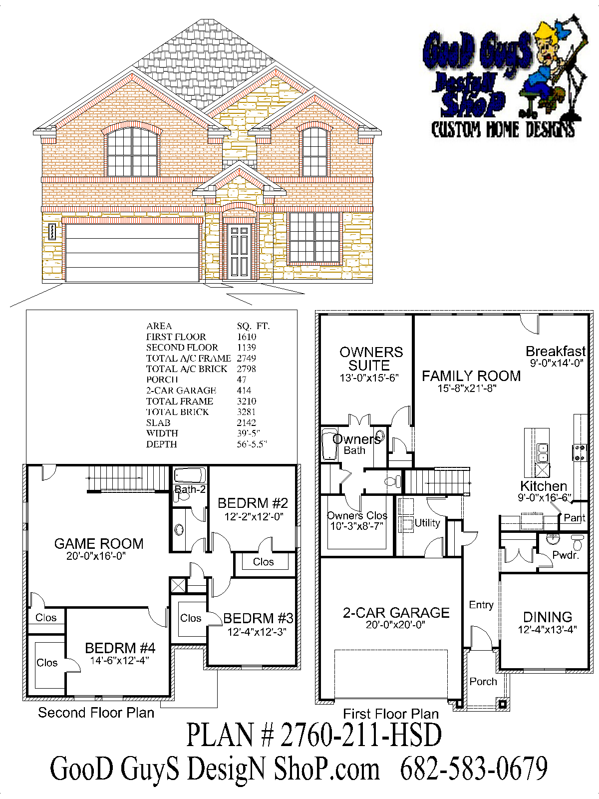 House Plans Two Story Plan 2760 Sq Ft 4 Bedrooms 2 Bath