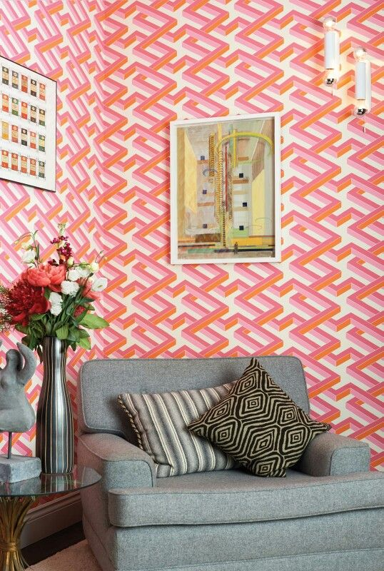 Cole and Son\'s Luxor wallpaper in vibrant pink and orange | Fabric ...