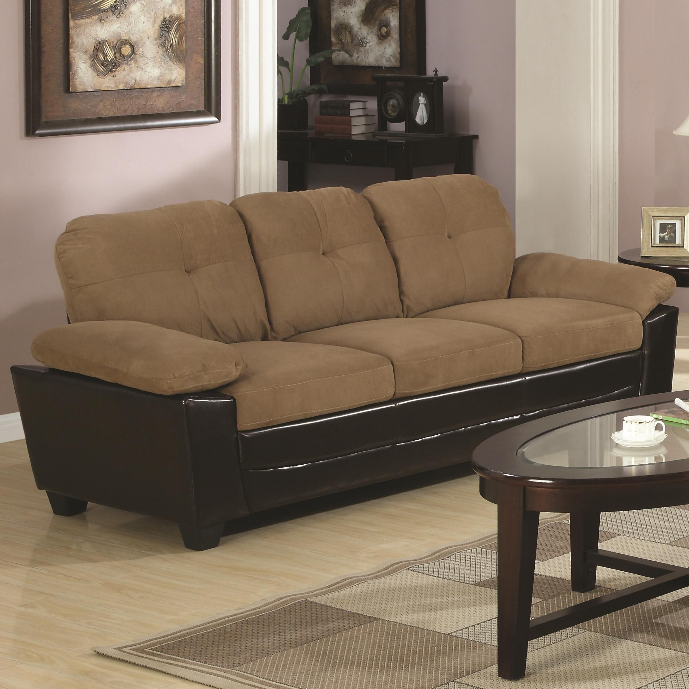 Coaster Mika Storage Sofa In Beige Microfiber