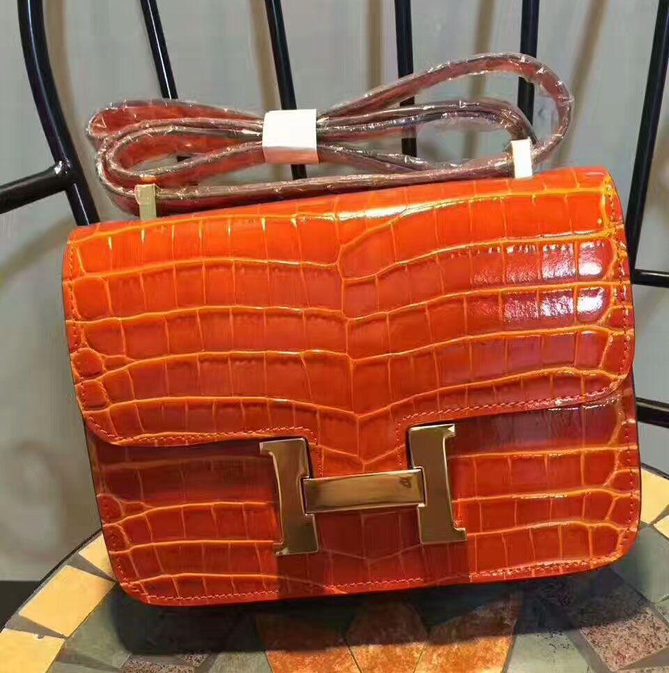 82b995c012 Hermes Constance Bag 23cm Crocodile Leather Gold Hardware In Orange ...
