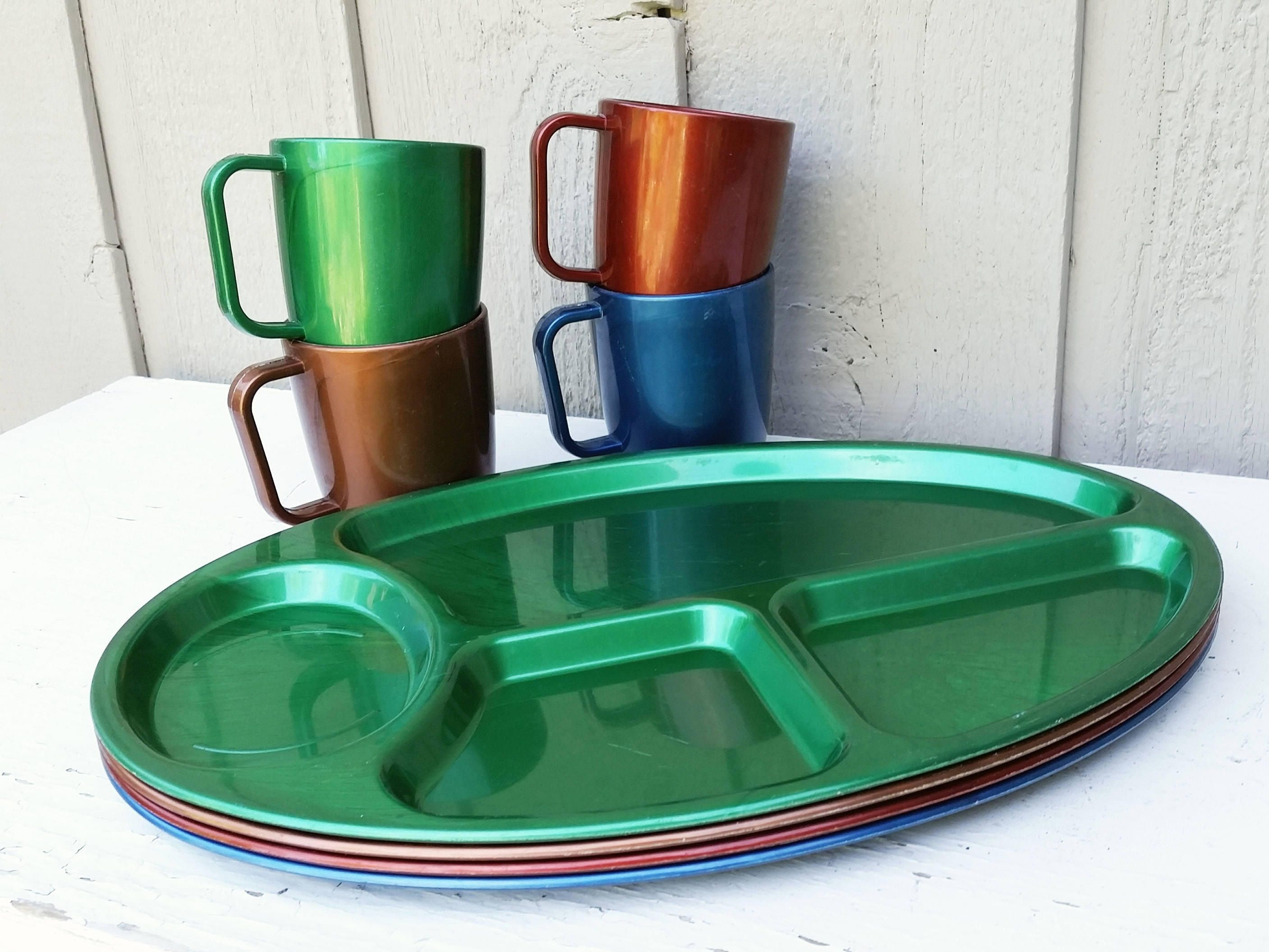 Vintage BW Melamine Divided Plates u0026 Cups. A heavy plastic set perfect for C&ing or Picnics. Available at #naturegirl22.etsy.com & B W Melamine Divided Plate u0026 Cup Set Vintage Heavy Plastic Ware for ...