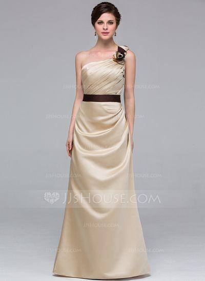 Vestidos de madrinha - $107.49 - Vestidos princesa/ Formato A Um ombro Chá comprimento Cetim Vestido de madrinha com Cintos fecho de correr (007037241) http://jjshouse.com/pt/Vestidos-Princesa-Formato-A-Um-Ombro-Cha-Comprimento-Cetim-Vestido-De-Madrinha-Com-Cintos-Fecho-De-Correr-007037241-g37241