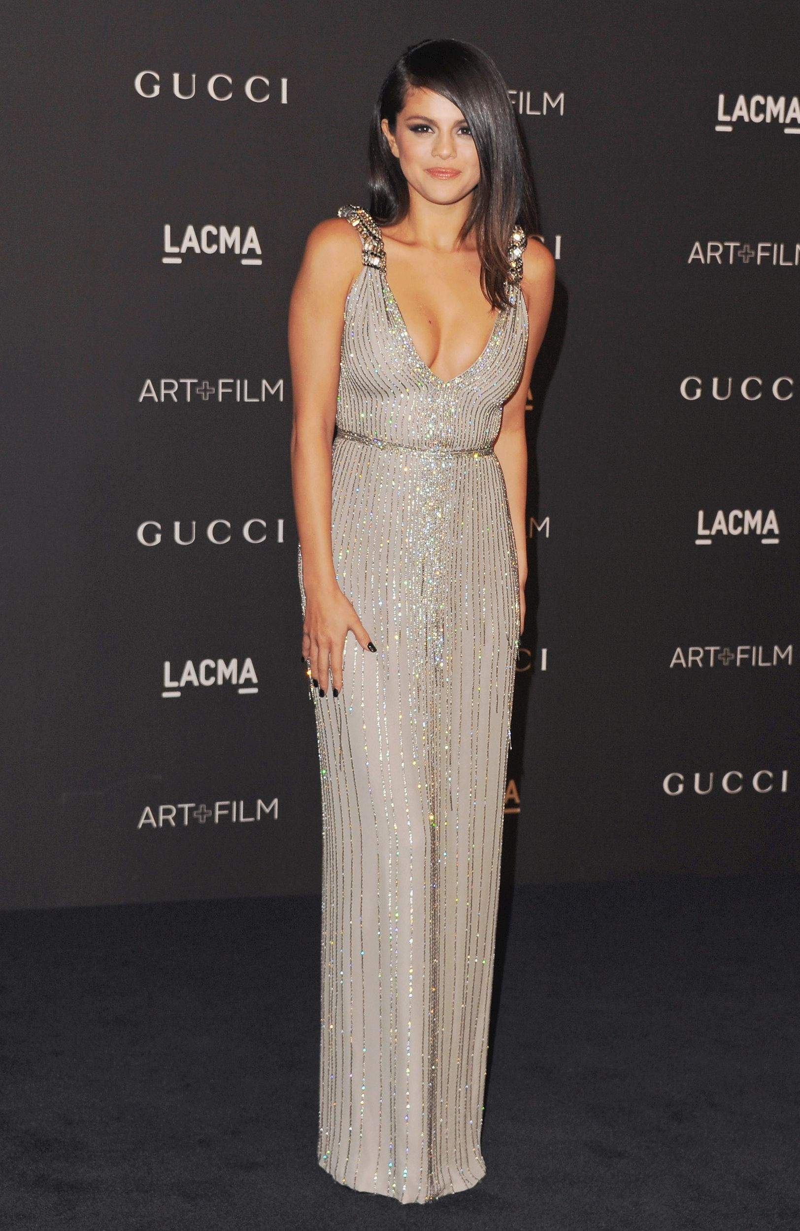 f1e6b692851 Gray Dress · Red Carpet Fashion · Selena Gomez wears Gucci to the 2014  LACMA Art Film Gala. via  stylelist
