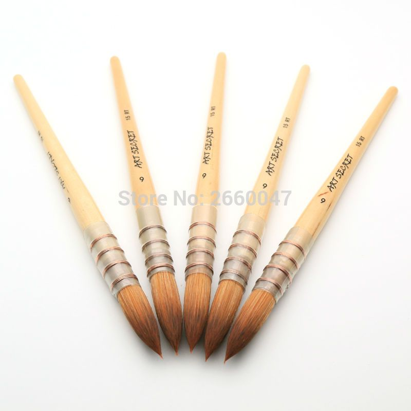 15rt 6 Art Paint Brush Fine Taklon Hair High Quality Watercolor