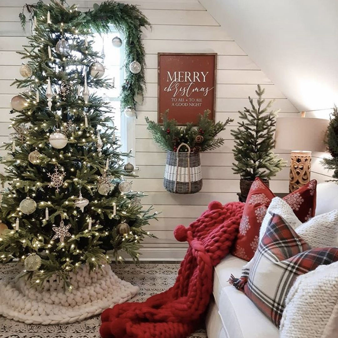 Our New Hampton White Shiplap Glistens Next To Bridgewaydesign S Sparkly Tree We Love The Sleek Farmhouse Christmas Decor Farmhouse Decor Farmhouse Christmas