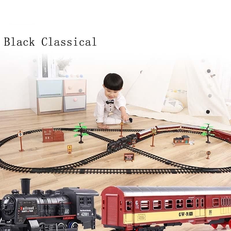 Electric Racing Rail Car Kids Track Train Model Toy Baby Railway