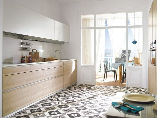 Una cocina con estilo y bien organizada suelos cocinas - Baldosas suelo cocina ...