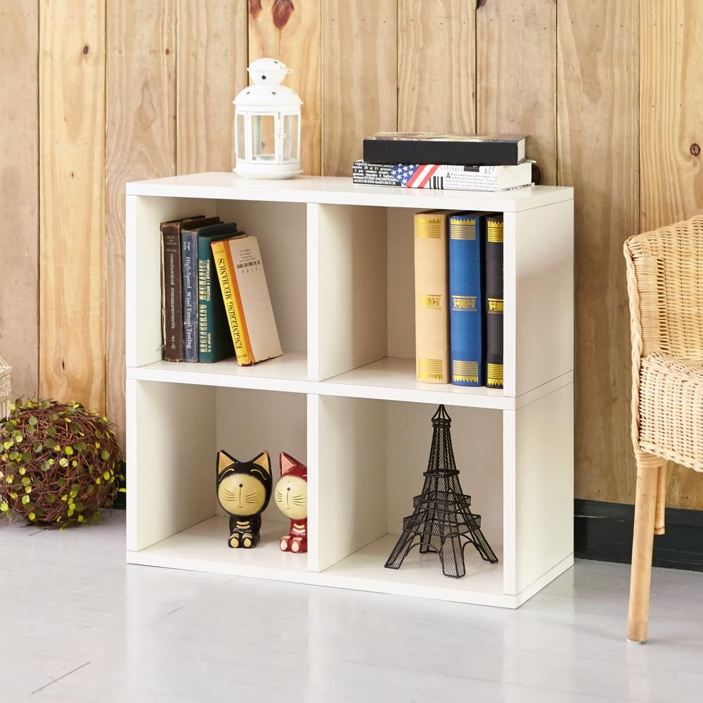 Way Basics 24 8 In White Wood 4 Shelf Standard Bookcase With Cubes Wb 4cube 2 We Bookcase Storage Cubbies Shelves