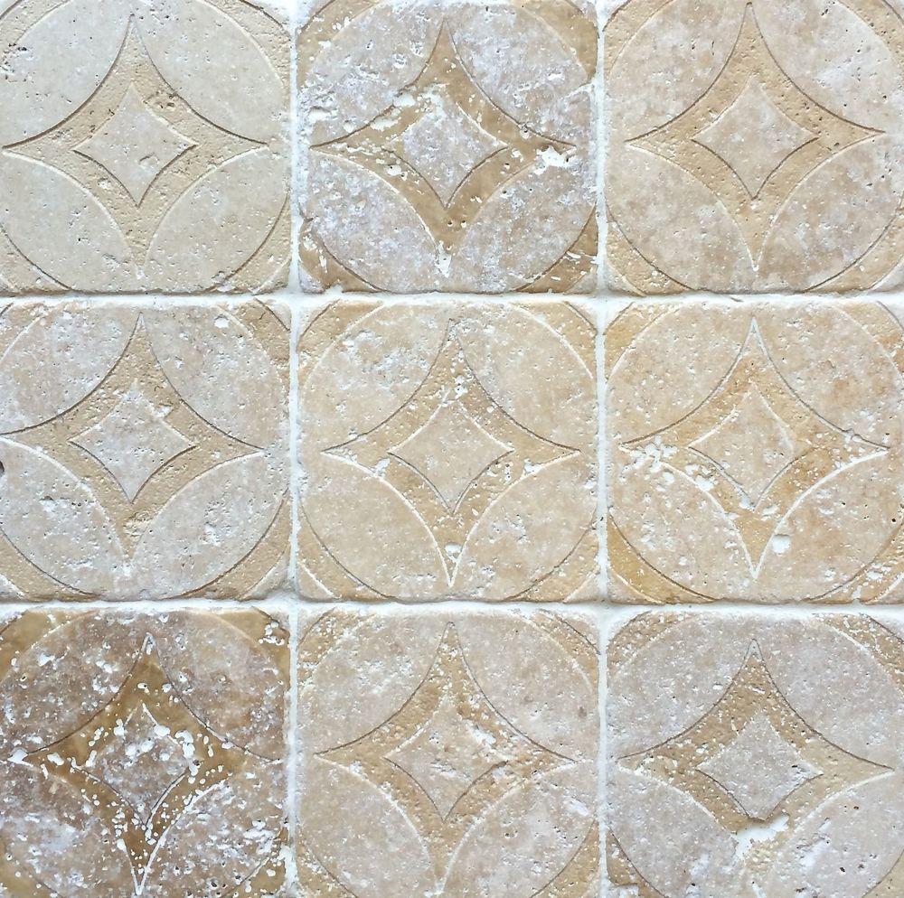 - Walnut Tumbled 4x4 Circa Carved Handmade Travertine Stone Decor