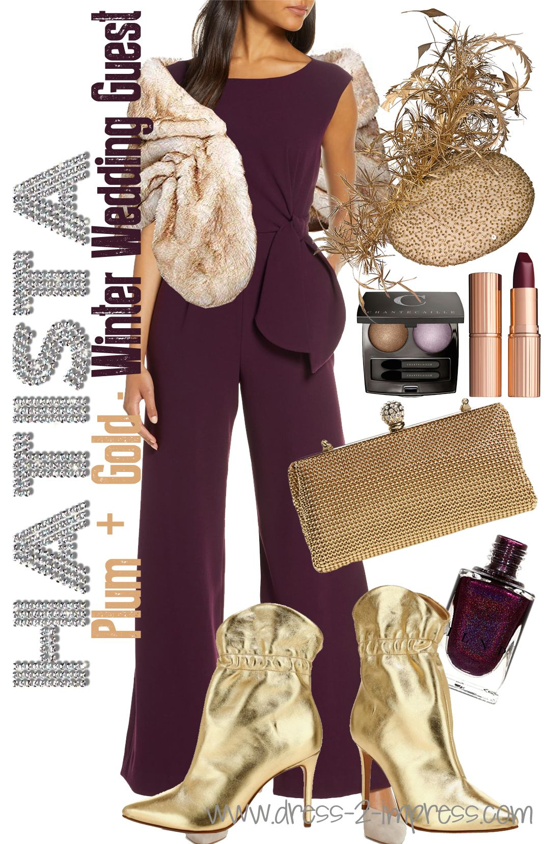 Plum And Gold Outfit For A Winter Wedding Guest If You Re Attending A Winter Wedding Wedding Guest Outfit Winter Winter Fashion Outfits Wedding Guest Outfit