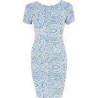 Blue paisley scoop back bodycon dress