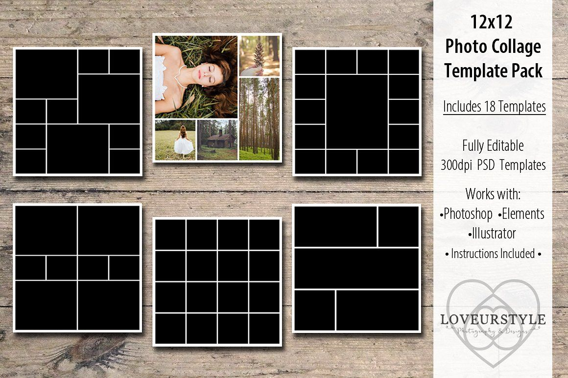12x12 Photo Collage Template Pack In 2020 Photo Collage Template Collage Template Photo Collage