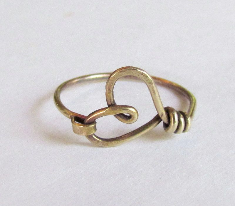 Heart Ring, simple, casual, red brass wire, texture, hammered, oxidized, girlfriend gift. $13.00, via Etsy.