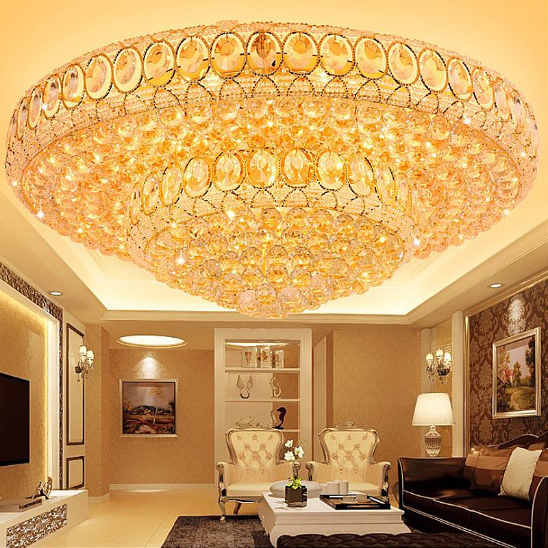 Luxury Led Crystal Ceiling Light European Round Flush Mounted Lighting Living Room Hotel Lobby Ceiling Lights Crystal Ceiling Light Flush Mount Lighting