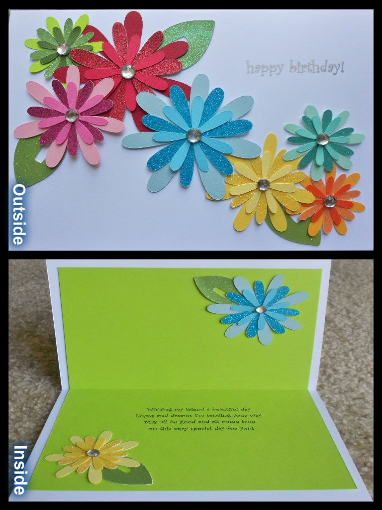 Handmade Birthday Card Using Walk In My Garden Cricut Cartridge Like The Flowers On Inside Too