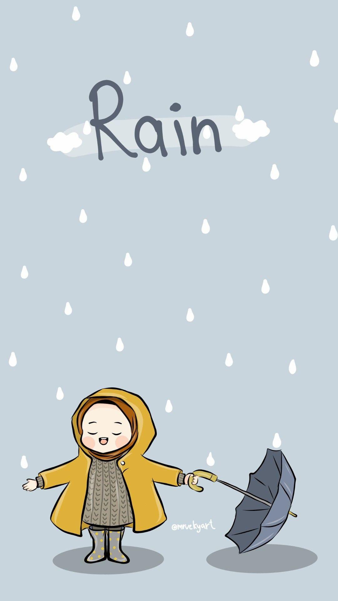 Rain Wallpaper Kartun Ilustrasi Lucu Ilustrasi Karakter