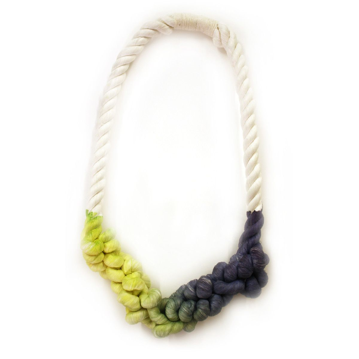 Jewelry that robes you in.... Dipped Rope Necklace Lime Navy. Innovative and fashion forward!