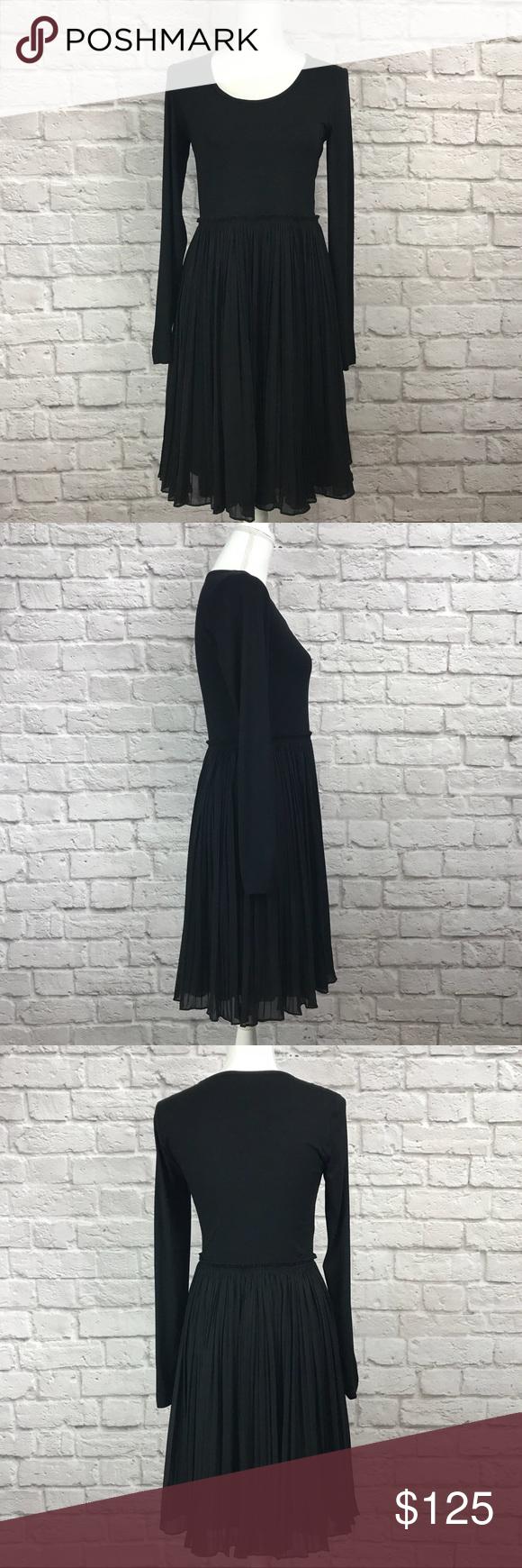 Dkny long sleeve pleated black dress nwt my posh closet