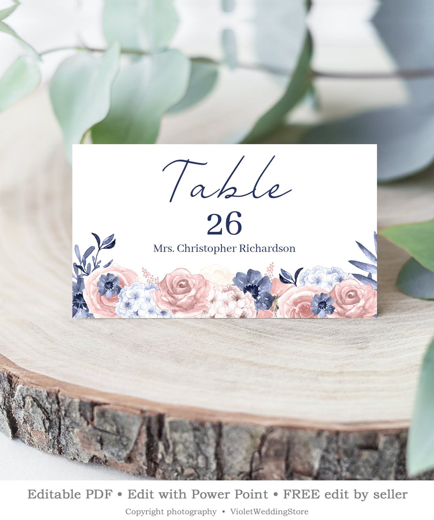 Printable Navy Wedding Place Card Editable Blue Blush Pink Florals Name Card Power Point Wedding Place Card Templates Wedding Place Cards Place Card Template