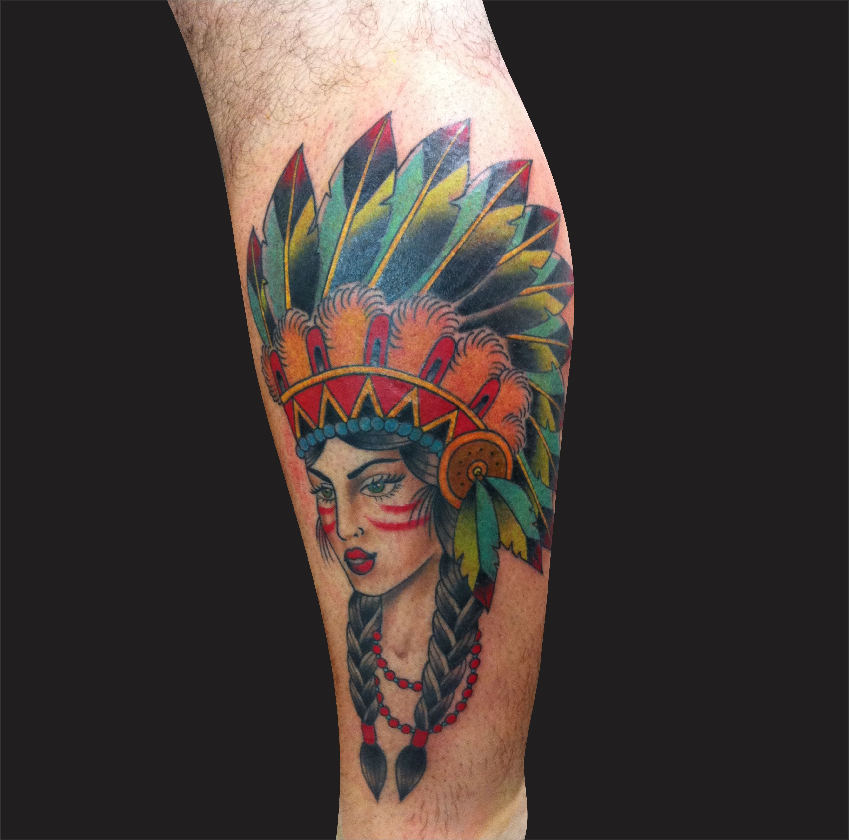 Colorful 3d indian native girl face tattoo design for leg