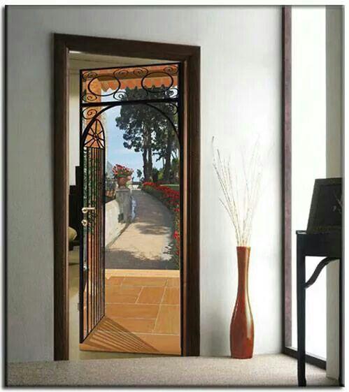 quick trompe l 39 oeil adesivo per porte lisce trompe l oeil adesivi murali. Black Bedroom Furniture Sets. Home Design Ideas