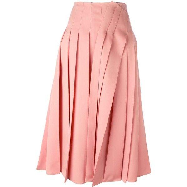 Rochas pleated midi skirt ($1,649) ❤ liked on Polyvore featuring skirts, midi  skirt