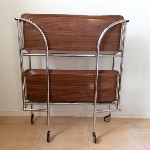 Vintage Serving Cart Trolly Chrome Wood Foldable By Berlinattic