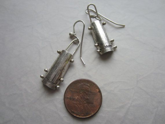 Sterling Industrial Oxidized Earrings by masonmetaldesigns on Etsy