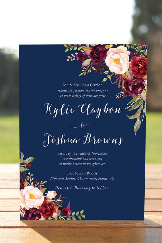 Navy Fl Wedding Invitations Invite