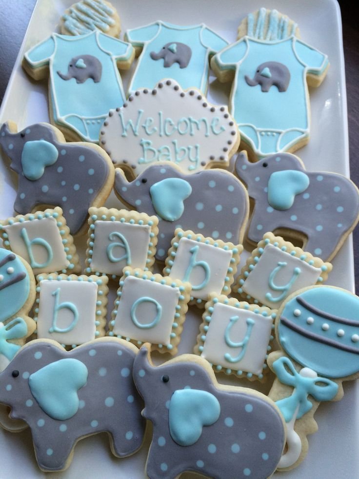 baby shower cookies decorated cookies baby boy elephant. Black Bedroom Furniture Sets. Home Design Ideas