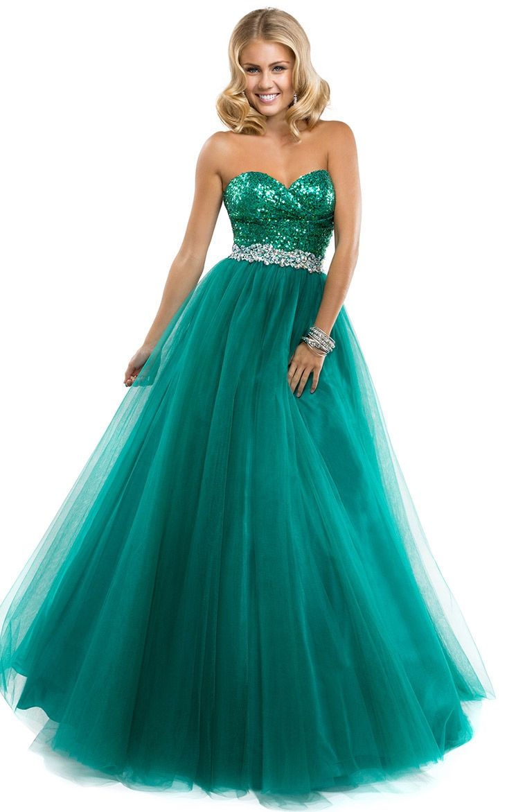 Ball gown in tulle with sparkling bodice by flirt dresses