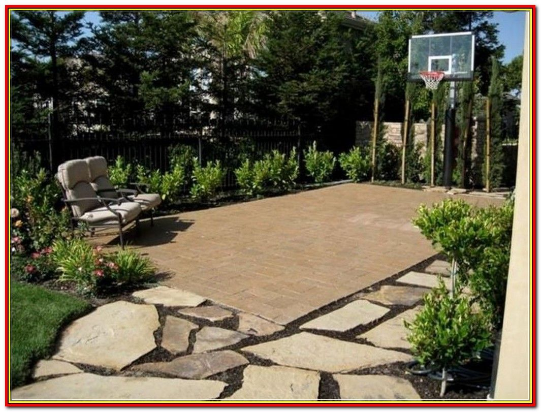 Lovely Courtyard Landscaping Pictures And Ideas To Look Further For This Article Visit The Im Backyard Basketball Basketball Court Backyard Backyard Court Backyard landscaping ideas with basketball court