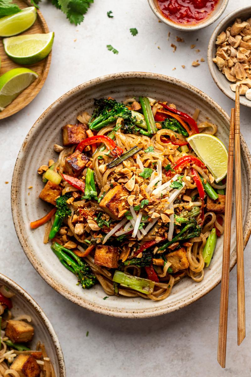 Healthier vegan pad thai - Lazy Cat Kitchen