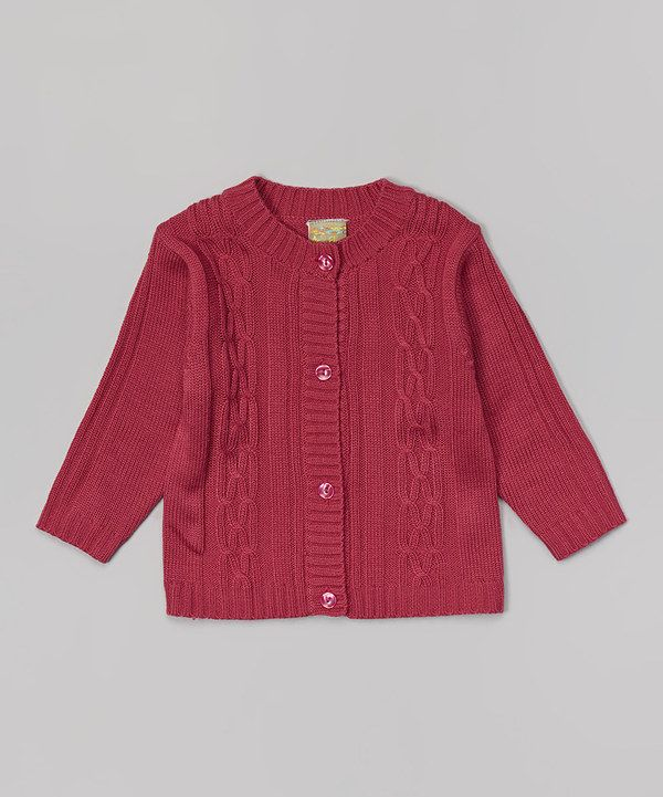 Fuchsia Cable-Knit Cardigan - Toddler & Girls