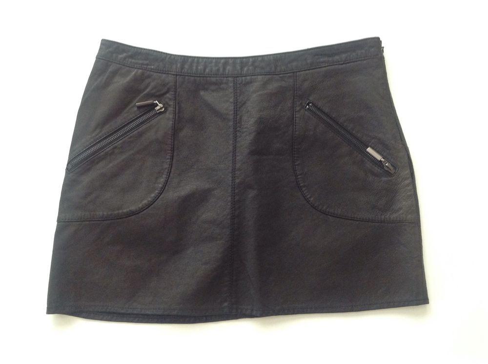 ZARA BASIC Black 100% Leather Mini Skirt Size M #ZARA #Mini