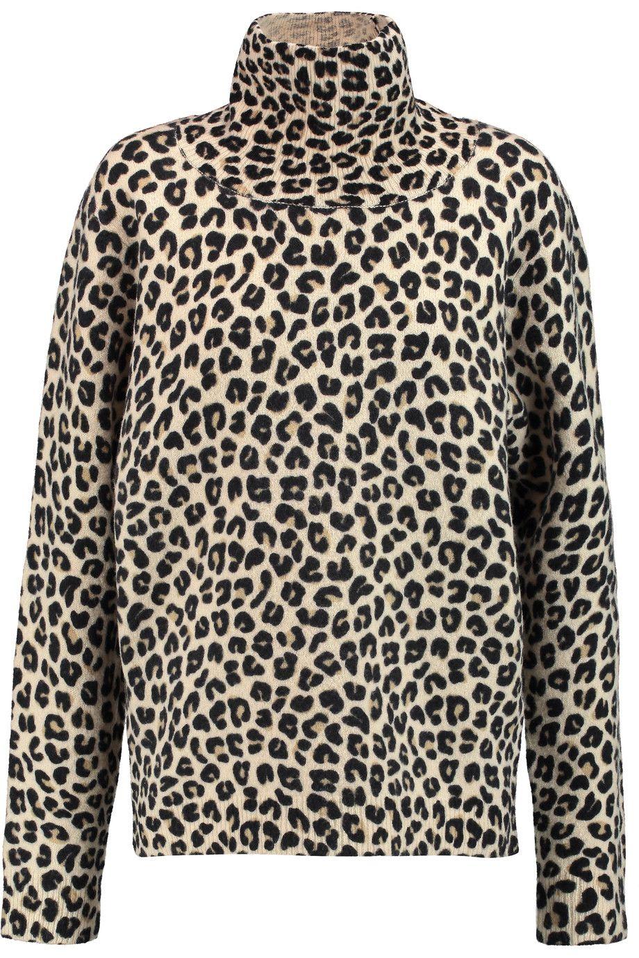 3c98219d98b9 DKNY Leopard-print wool-blend turtleneck sweater. #dkny #cloth #sweater