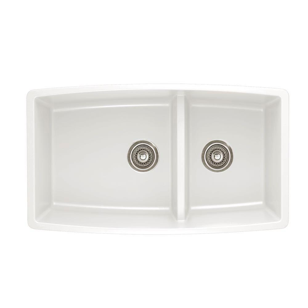 Blanco Performa Undermount Granite Composite 33 In 60 40 Double Bowl Kitchen Sink With Low Divide In White 441310 Double Bowl Kitchen Sink Silgranit Sink Sink
