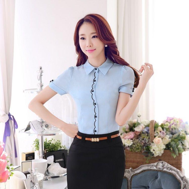 f63ac9c225 Cheap Para mujer de moda luz azul camisas mujeres trabajan blusas tallas  grandes XXXXL elegante Formal para mujer camisetas y Tops estilo OL