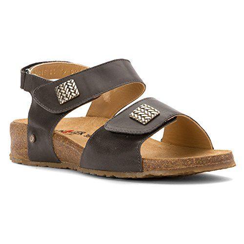 Amazon.com | Haflinger Women's Ts Bella Graphite Flat Sandal | Flats