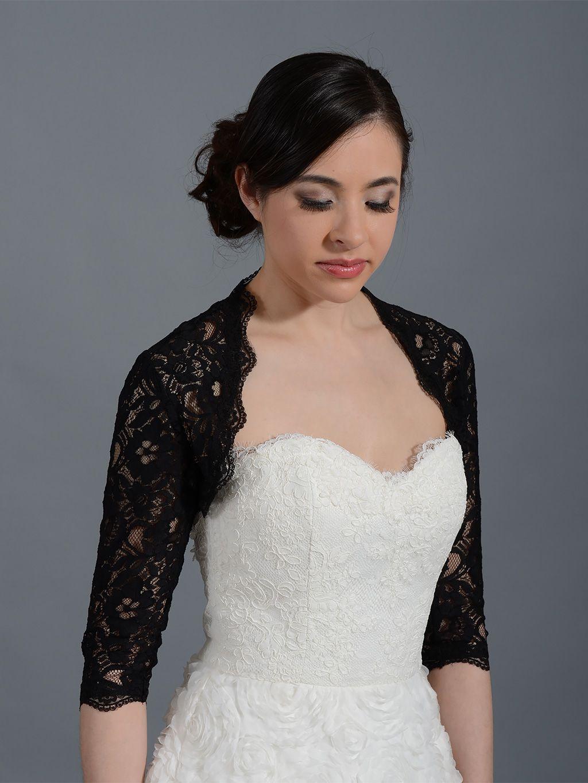3 4 sleeve lace wedding dress  Black  sleeve bridal corded lace wedding bolero jacket