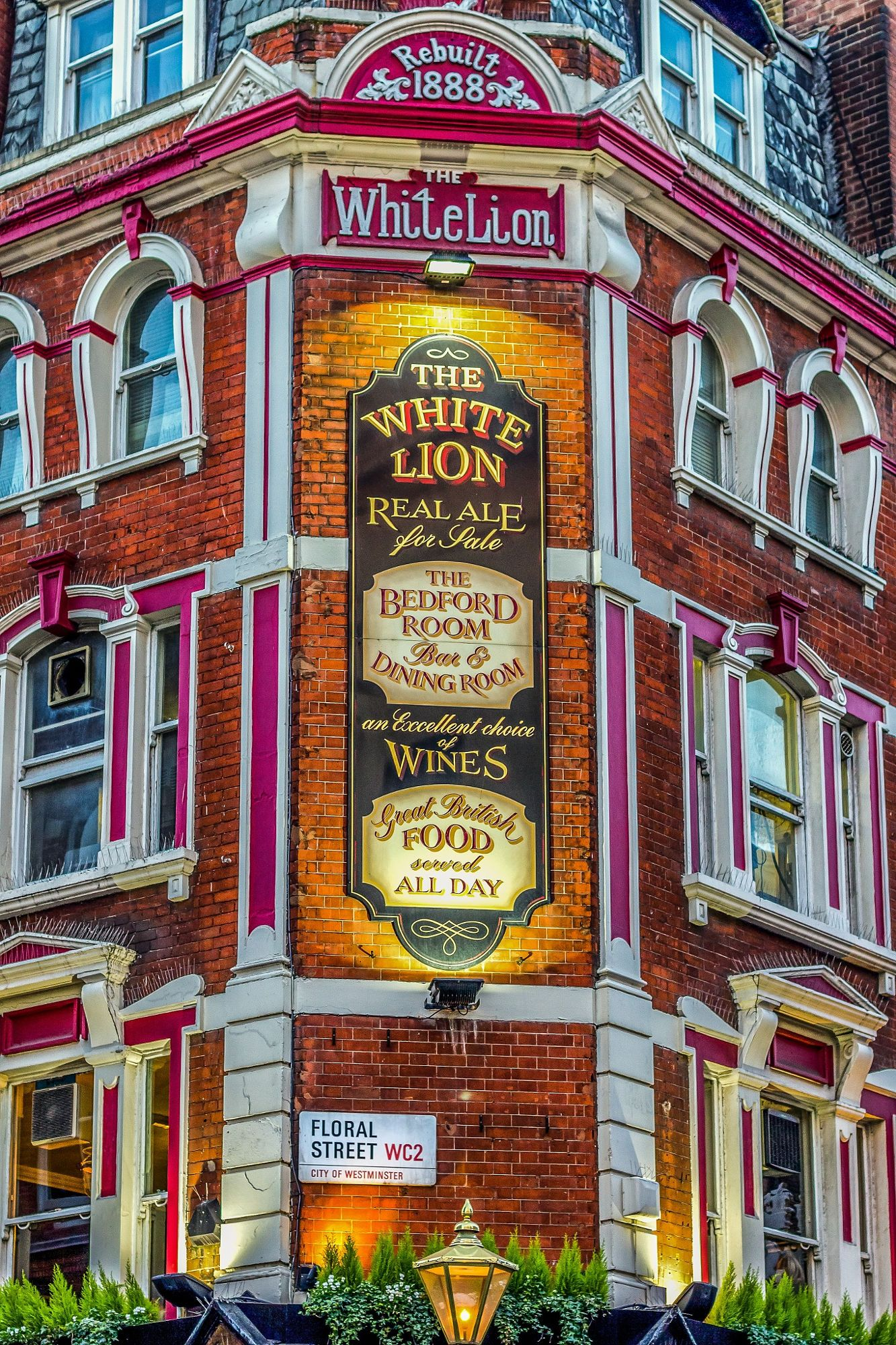 The façade of the 'White Lion' pub in London's Covent