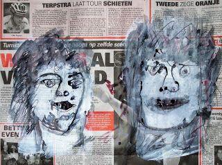 my artwork - aqua vitae: 28Dec16 Face painting on newspaper [ CCdag] [2012]...
