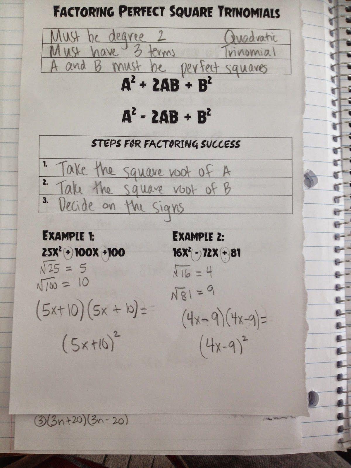 Making Mathematics Magical Factoring Perfect Square