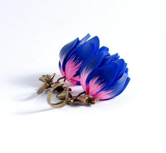 Earrings with dark blue and pink flower with bow by Rotdaris, $18.00